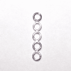 Sterling Silver Link Cluster 14x3mm 5 Ring Stack 1pc