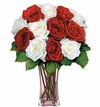 12 Red and White Long Stem Roses