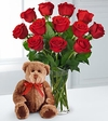 12 Stems  Roses & Bear Arrangement