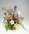 Basket design of mixed flowers.
