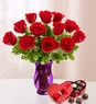 Be Mine  One Dozen Roses and Chocolate