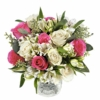 bouquet of pink and white blooms