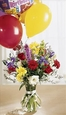 Colorburst Birthday Balloons and Flowers