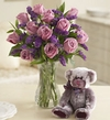 Lavender Rose Bouquet w/teddy bear