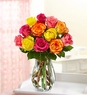 One Dozen Multicolored Roses