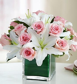 Rose and Lily Cube Bouquet