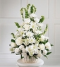 Whitte basket funeral Arrangement