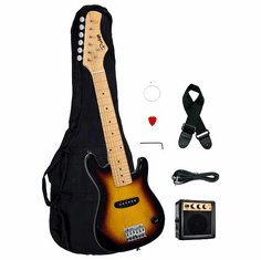 "1/2 Half Size Kids Sunburst 30"" Inch Electric Guitar and Amplifier Pack & Gig Bag, Strap, Cable, & DirectlyCheap(TM) Translucent Blue Medium Guitar Pick"