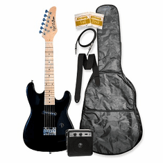 """32"""" Black Junior Kids Mini 1/2 Size Electric Starter Guitar and Amplifier Pack with Free Gig Bag and Accessories & DirectlyCheap(TM) Translucent Blue Medium Guitar Pick"""