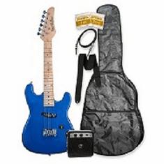"""32"""" Metallic Blue Junior Kids Mini 1/2 Size Electric Starter Guitar and Amplifier Pack with Free Gig Bag and Accessories & DirectlyCheap(TM) Translucent Blue Medium Guitar Pick"""