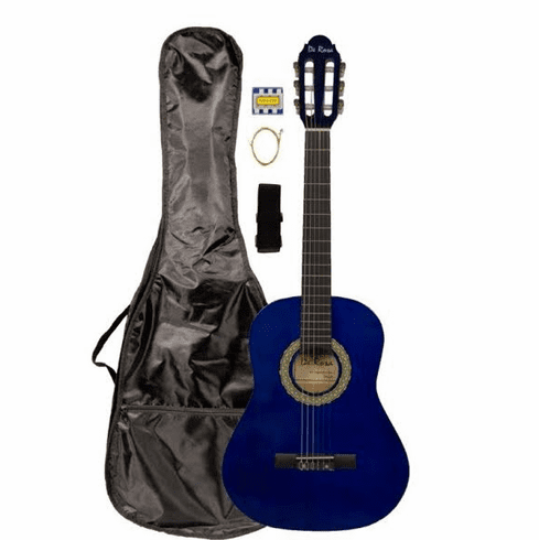 """36"""" Inch 3/4 Scale Size Blue Student Beginner Acoustic Guitar with Carrying Case & Accessories & DirectlyCheap(TM) Translucent Blue Medium Guitar Pick (A-PRO Series) [Teacher Approved]"""