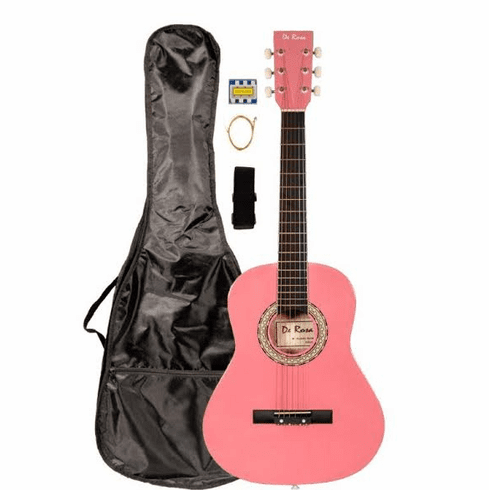 "36"" Inch 3/4 Scale Size Pink Student Beginner Acoustic Guitar with Carrying Case & Accessories & DirectlyCheap(TM) Translucent Blue Medium Guitar Pick (A-PRO Series) [Teacher Approved]"