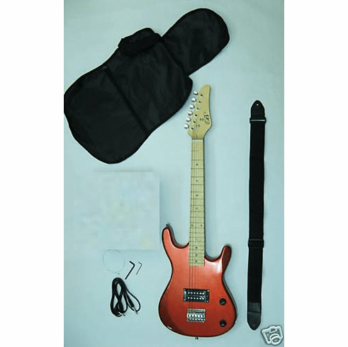 "36"" Inch Red Junior Kids Mini 3/4 Travel Electric Guitar Starter"