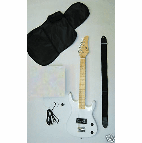"36"" Inch White Junior Kids Mini 3/4 Travel Electric Guitar Starter"