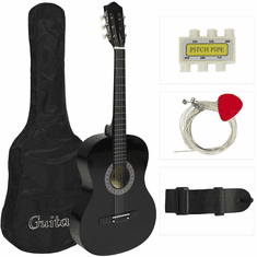 "38"" BLACK Acoustic Guitar Starters Beginner Package, Guitars, Gig Bag, Strap, Pitch Pipe Tuner, 2 Pick Guards, Extra String & DirectlyCheap� Pick (BK-AG38) [Teacher Approved]"