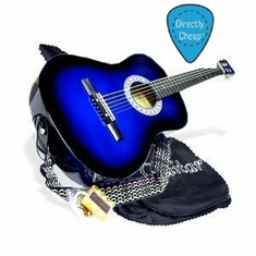 "38"" BLUE Acoustic Guitar Starter Package, Guitar, Gig Bag, Strap, Pitch Pipe & 2 Months Free Guitar Lessons & DirectlyCheap(TM) Pick (BU-AG38)"
