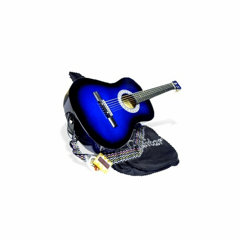 """38"""" BLUE Acoustic Guitar Starters Beginner Package, Guitars, Gig Bag, Strap, Pitch Pipe Tuner, 2 Pick Guards, Extra String & DirectlyCheap® Pick (BU-AG38) [Teacher Approved]"""