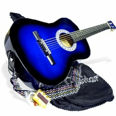 "38"" BLUE Acoustic Guitar Starters Beginner Package, Guitars, Gig Bag, Strap, Pitch Pipe Tuner, 2 Pick Guards, Extra String & DirectlyCheap� Pick (BU-AG38) [Teacher Approved]"