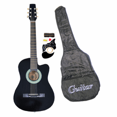 38 Inch Black Student Cutaway Folk Acoustic Guitar Beginner Set with Accessories