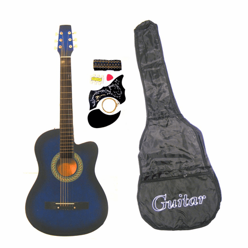 38 Inch Blue Student Cutaway Folk Acoustic Guitar Beginner Set with Accessories