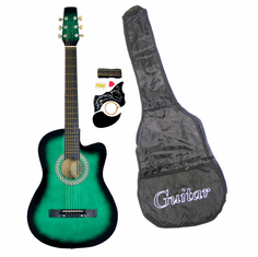 38 Inch Green Student Cutaway Folk Acoustic Guitar Beginner Set with Accessories