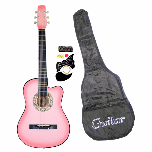 "38"" Inch Student Beginner Pink Acoustic Cutaway Guitar with Carrying Case & Accessories & DirectlyCheap(TM) Translucent Blue Medium Guitar Pick"