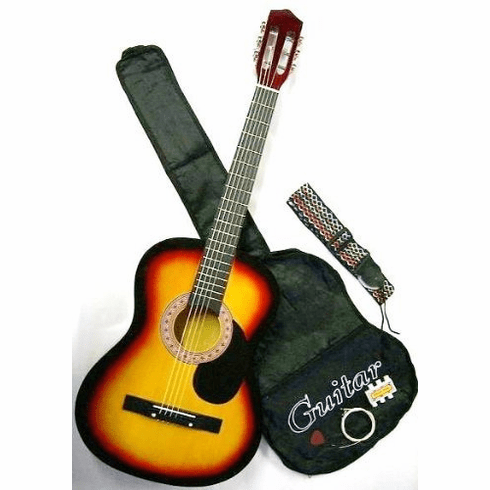 "38"" Inch Student Beginner Royal Brown Acoustic Guitar with Carrying Case & Accessories  & DirectlyCheap(TM) Translucent Blue Medium Guitar Pick (A38-SK)"