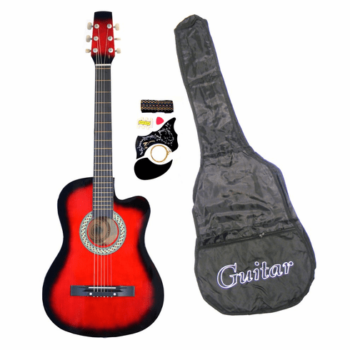 38 Inch Sunburst Student Cutaway Folk Acoustic Guitar Beginner Set with Accessories
