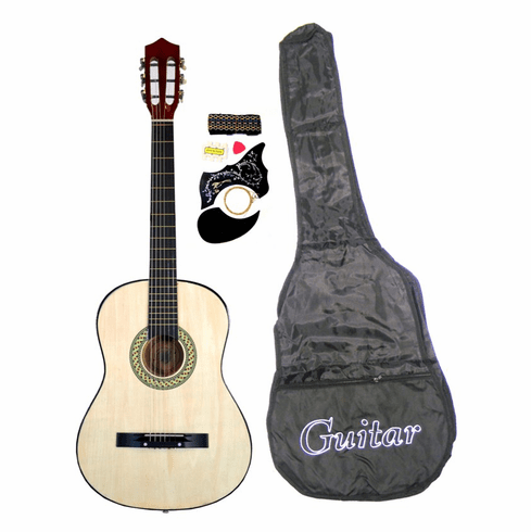 "38"" NATURAL Acoustic Guitar Starters Beginner Package, Guitars, Gig Bag, Strap, Pitch Pipe Tuner, 2 Pick Guards, Extra String & DirectlyCheap® Pick (NT-AG38) [Teacher Approved]"