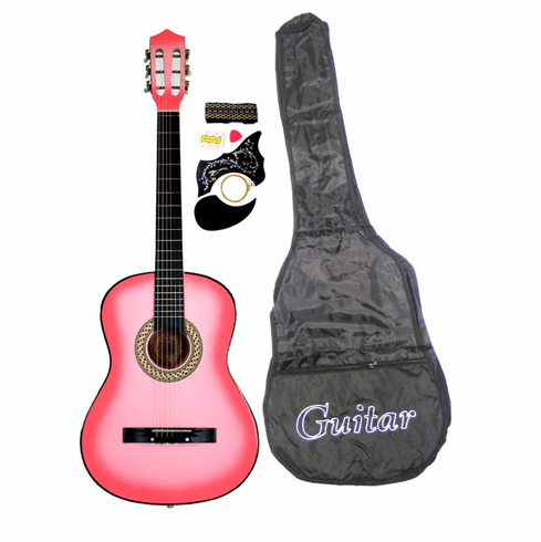 "38"" PINK Acoustic Guitar Starters Beginner Package, Guitars, Gig Bag, Strap, Pitch Pipe Tuner, 2 Pick Guards, Extra String & DirectlyCheap® Pick (PK-AG38) [Teacher Approved]"