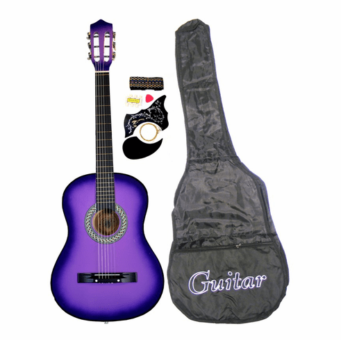 """38"""" PURPLE Acoustic Guitar Starters Beginner Package, Guitars, Gig Bag, Strap, Pitch Pipe Tuner, 2 Pick Guards, Extra String & DirectlyCheap® Pick (BU-AG38) [Teacher Approved]"""