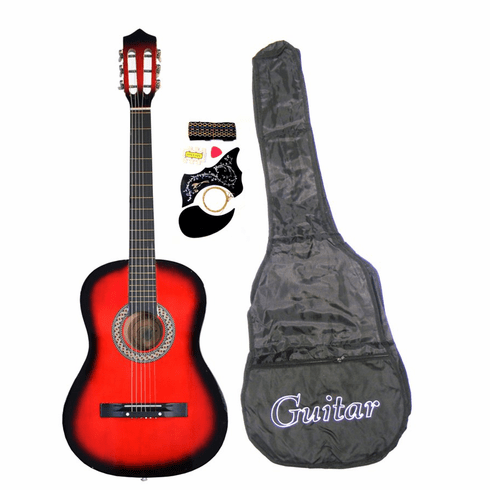 "38"" RED Acoustic Guitar Starters Beginner Package, Guitars, Gig Bag, Strap, Pitch Pipe Tuner, 2 Pick Guards, Extra String & DirectlyCheap(TM) Pick (RD-AG38) [Teacher Approved]"