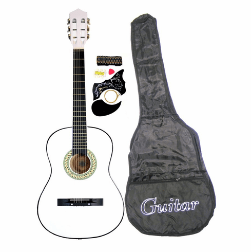 "38"" WHITE Acoustic Guitar Starters Beginner Package, Guitars, Gig Bag, Strap, Pitch Pipe Tuner, 2 Pick Guards, Extra String & DirectlyCheap® Pick (WH-AG38) [Teacher Approved]"