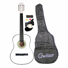 "38"" WHITE Acoustic Guitar Starters Beginner Package, Guitars, Gig Bag, Strap, Pitch Pipe Tuner, 2 Pick Guards, Extra String & DirectlyCheap� Pick (WH-AG38) [Teacher Approved]"