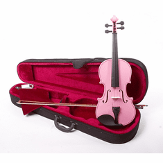 4/4 Size Pink Student Beginners Violin with Case and Accessories - & DirectlyCheap(TM) Translucent Blue Medium Pick