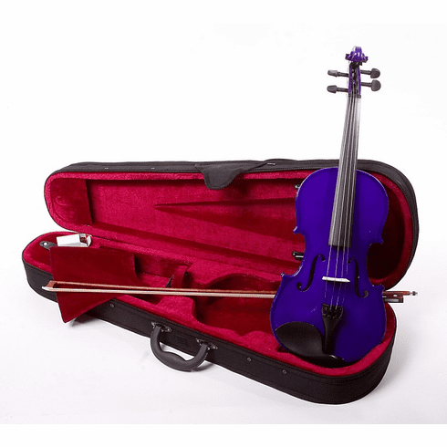 4/4 Size Purple Student Beginners Violin with Case and Accessories - & DirectlyCheap(TM) Translucent Blue Medium Pick