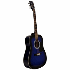 """41"""" Inch Blue Burst Handcrafted Steel String Acoustic Guitar"""
