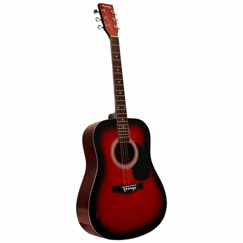 "41"" Inch Red Handcrafted Steel String Acoustic Guitar"