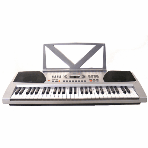 54 Keys Silver Keyboard Electronic Digital Piano - With notes Holder - with AC Adapter & DirectlyCheap(TM) Translucent Blue Medium Pick