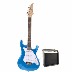 "Assassin 39"" Inch Full Size Metallic Blue Electric Guitar with 10 Watt Amp Package"