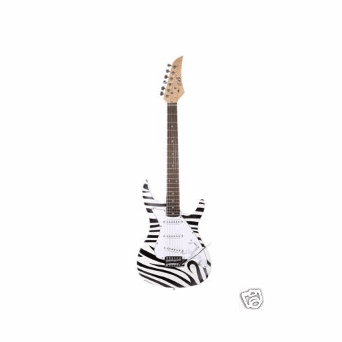 "Assassin 39"" Inch Zebra Full Size Electric Guitar Beauty"