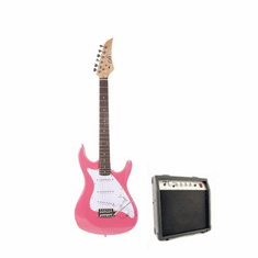 "Assassin by B-Guitars  39"" Inch Full Size Metallic Pink Electric Guitar with 10 Watt Amp Package"