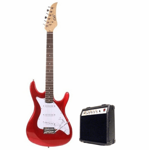 "Assassin by B-Guitars 39"" Inch Full Size Metallic Red Electric Guitar with 10 Watt Amp Package"