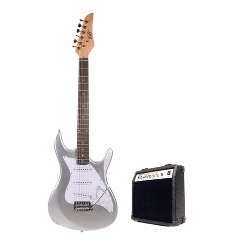 "Assassin by B-Guitars 39"" Inch Full Size Silver Electric Guitar with 10 Watt Amp Package"