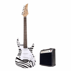 "Assassin by B-Guitars  39"" Inch Full Size Zebra Electric Guitar with 10 Watt Amp Package"