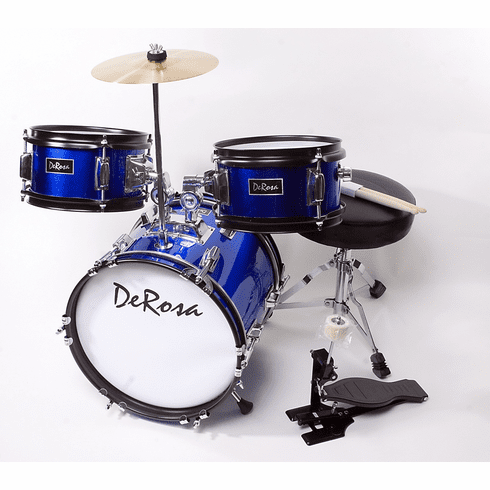 "De Rosa 12"" Inch 3 Piece Kids Children Blue Drum Set Kit With Cymbals"