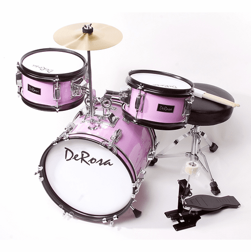 "De Rosa 12"" Inch 3 Piece Kids Children Metallic Pink Drum Set Kit With Cymbals"