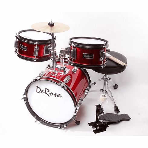 "De Rosa 12"" Inch 3 Piece Kids Children Red Drum Set Kit With Cymbals"