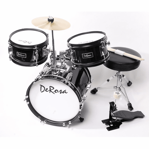 "De Rosa 16"" Inch 3 Piece Kids Children Black Drum Set Kit With Cymbals"