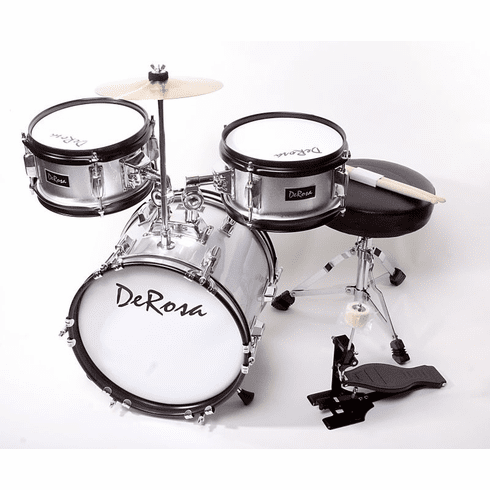 "De Rosa 16"" Inch 3 Piece Silver Kids Children Drum Set Kit With Cymbals"